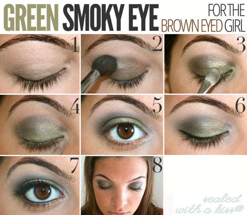spring makeup green smoky eyes