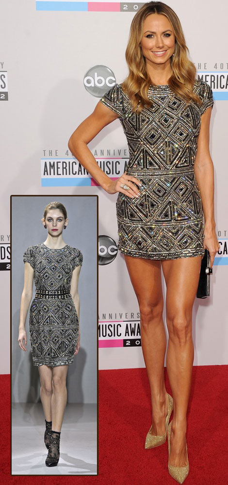 Stacy Keibler mini dress Collette Dinnigan AMAs 2012