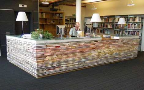 Staked books desk