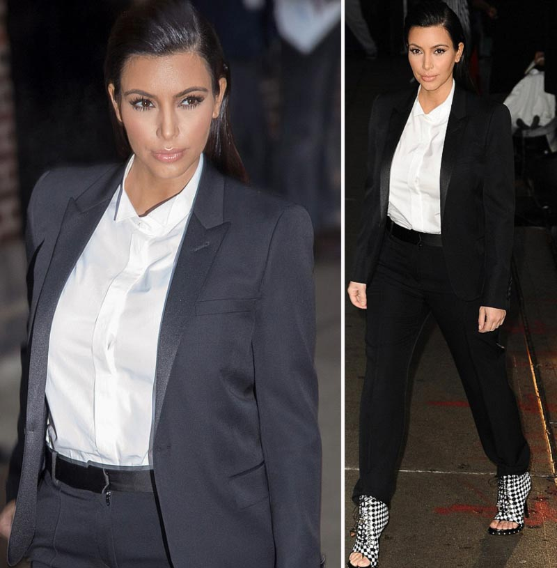 stars wearing suits Kim Kardashian