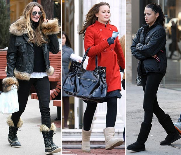 stars with snow boots Elle MacPherson Leighton Meester Adriana Lima