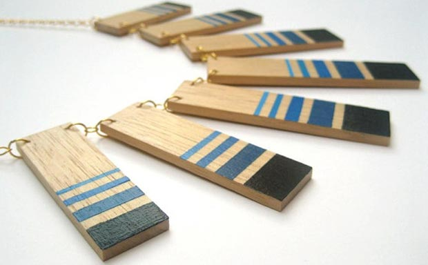statement painted wood necklace