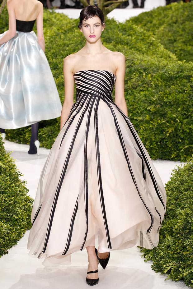 striped gown Dior Couture Spring 2013 collection