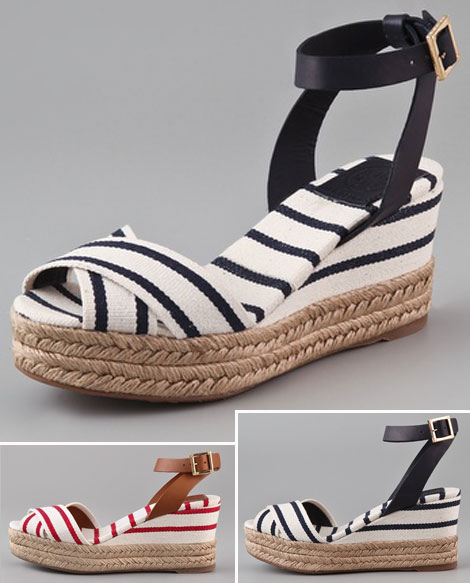 striped wedge sandals Tory Burch