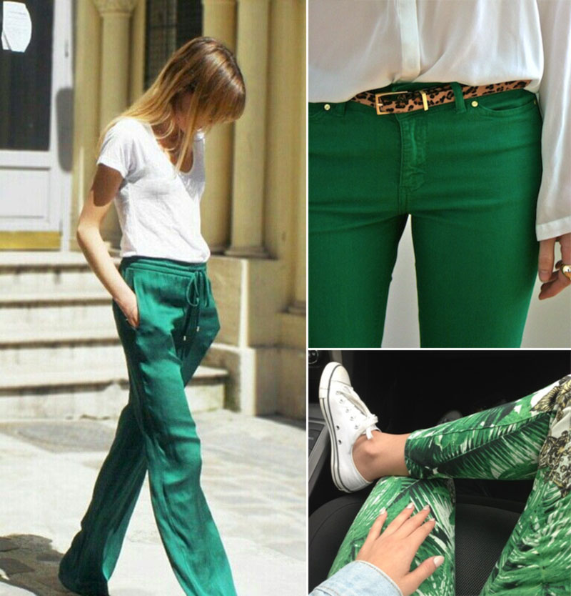 stylish way to wear green pants