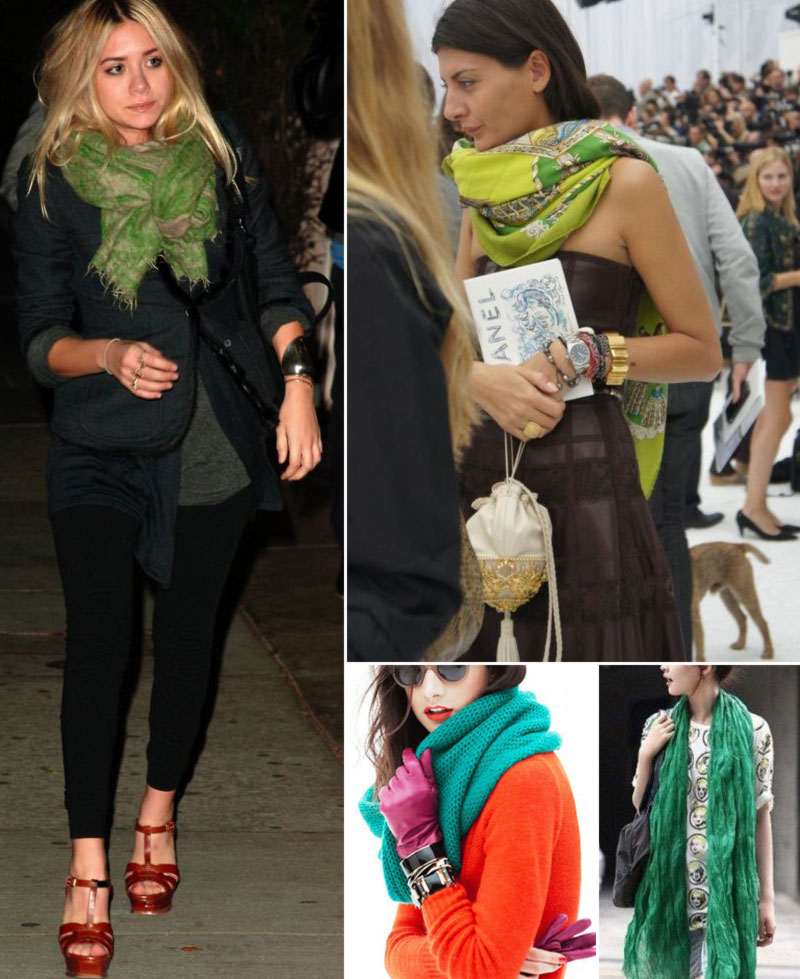 stylish ways to wear green scarves