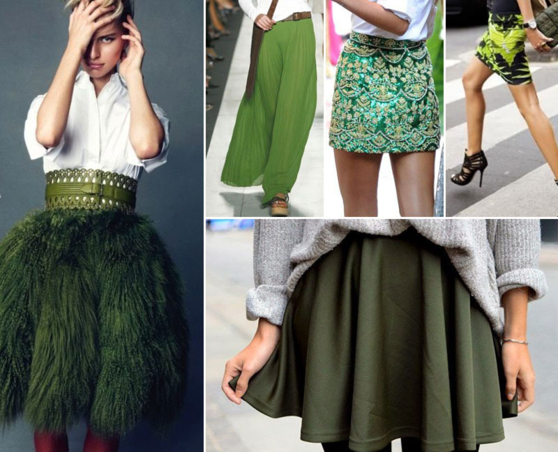 stylish ways to wear green skirts