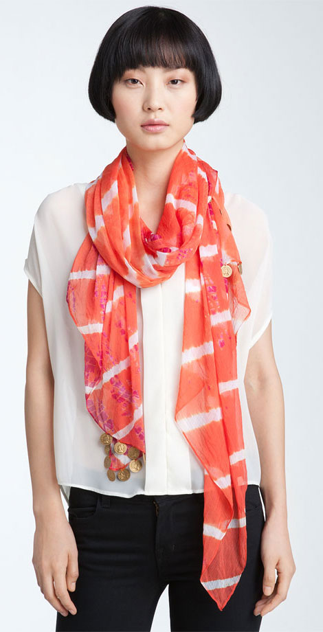 summer accessories tie dye coin scarf by Steve Madden