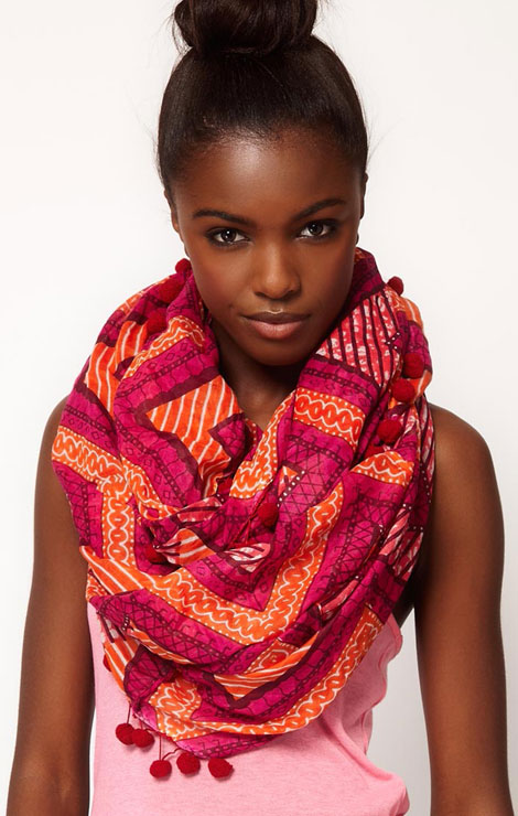 summer snood asos diagonal print snood with pom poms