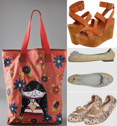 Summer tote flats wedges