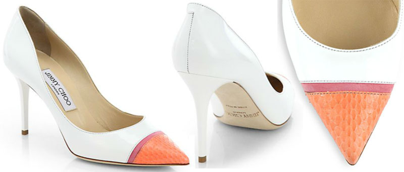 summer white capped shoes Jimmy Choo