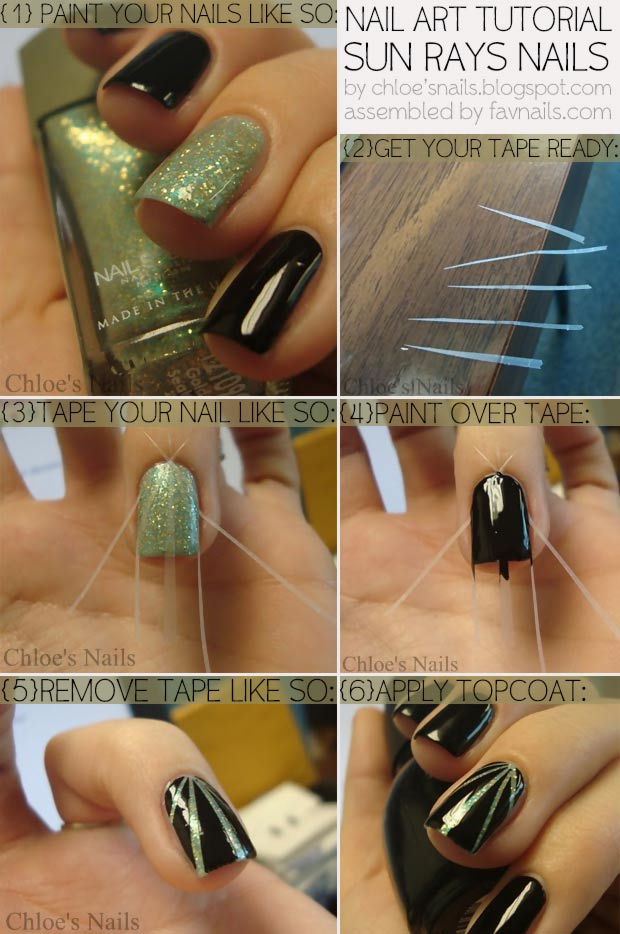 simple sun ray nails tutorial