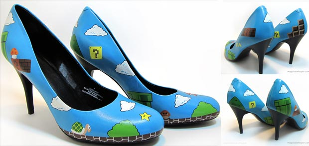 Super Mario high heels shoes handpainted
