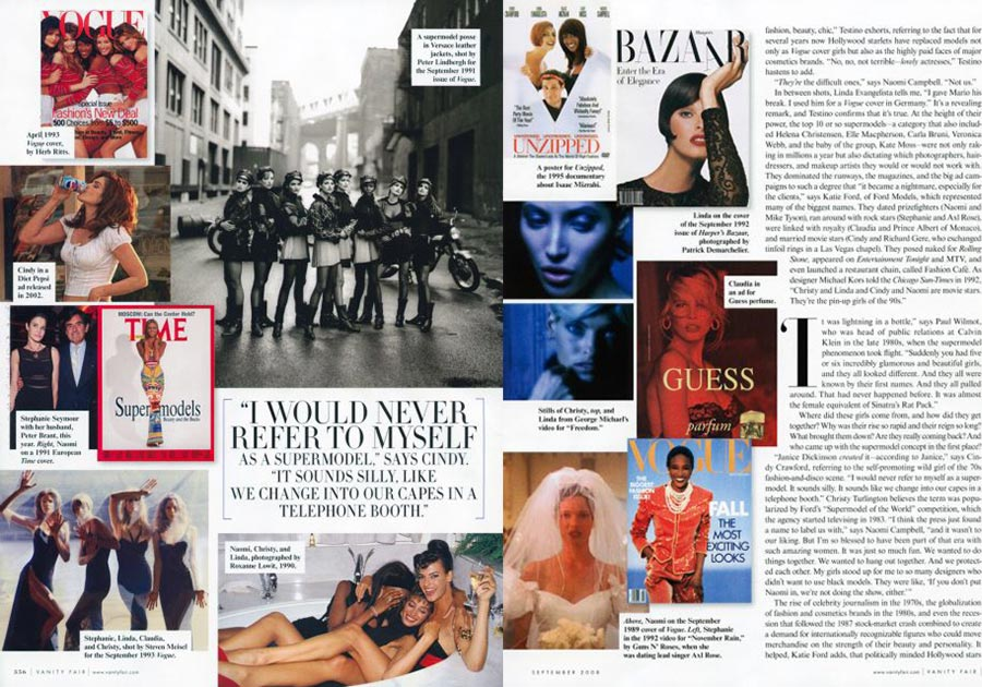 Supermodels story Vanity Fair magazine