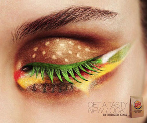 surprising makeup Hamburger eye makeup Burger King adv