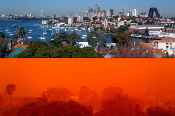 Sydney red storm before after