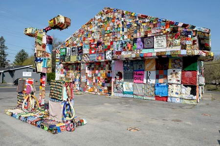 Syracuse Gas Station Covered in Fabric