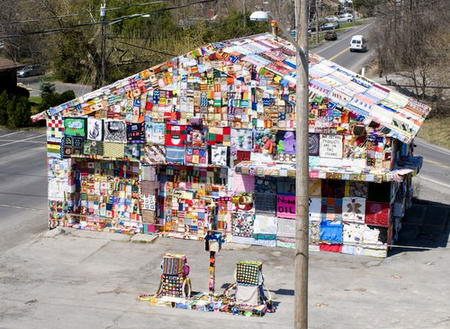 Syracuse Gas Station Covered with fabric