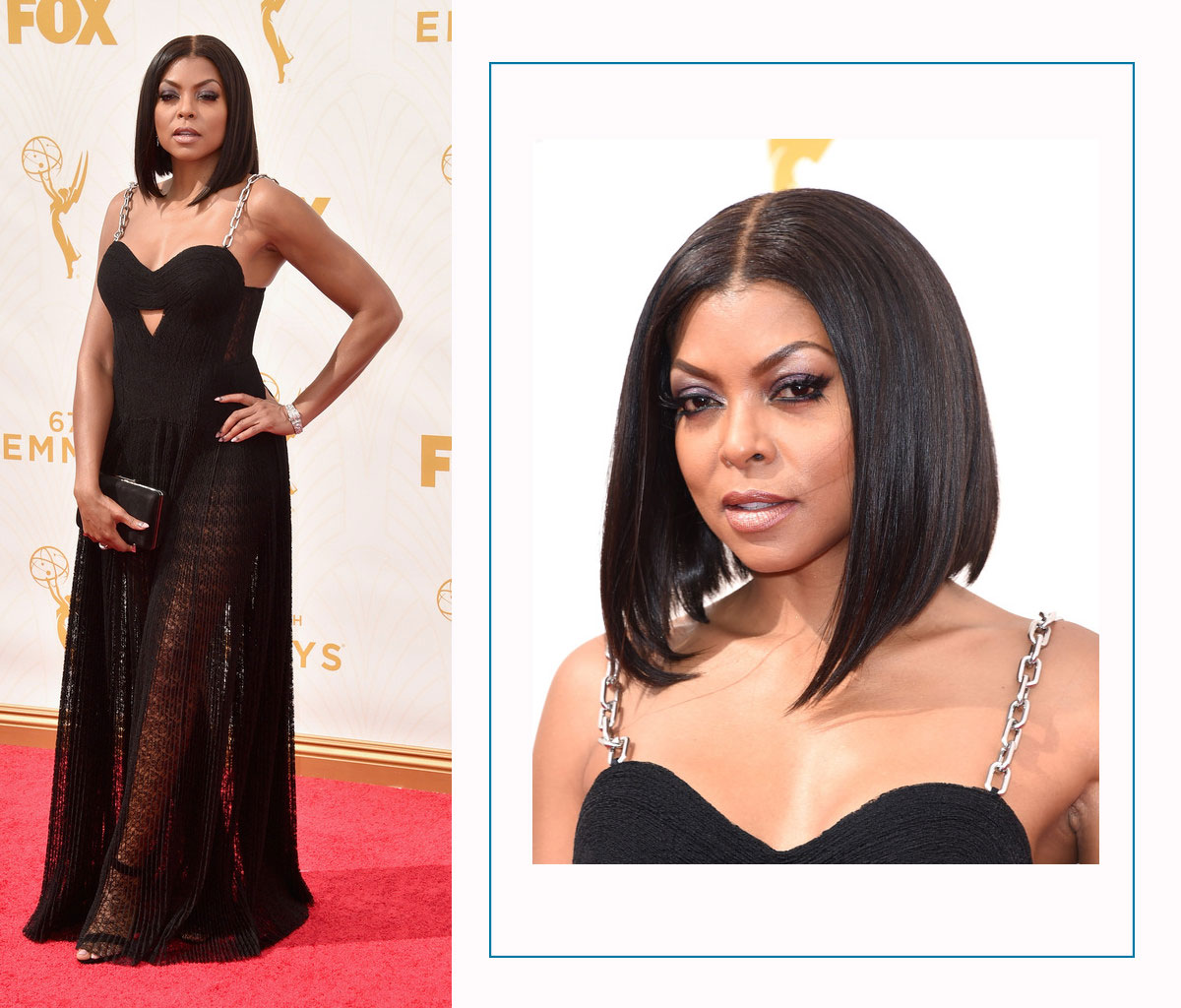 Taraji P Hanson 2015 Emmy Awards Red Carpet hairdo