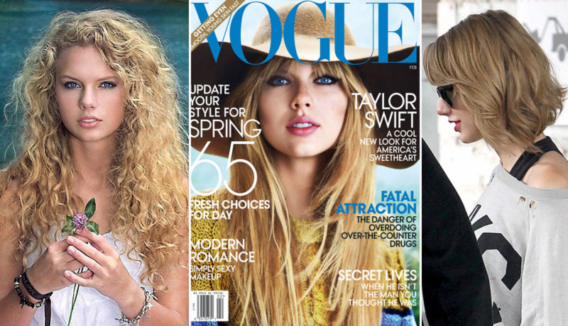 Taylor Swift debut hair Vogue cover haircut now new short hair