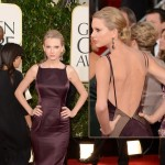 Taylor Swift Donna Karan plum dress 2013 Golden globes