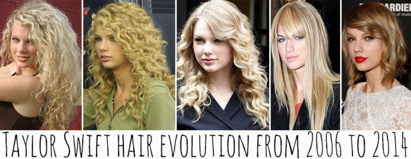 Taylor Swift hair evolution from her debut to present days