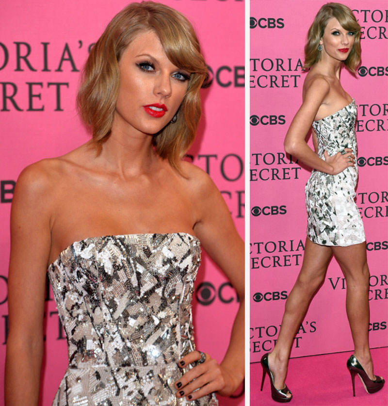 Taylor Swift minidress metallic Jimmy Choo shoes