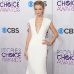 Taylor Swift plunging white dress People s Choice Awards 2013