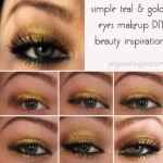 teal gold spring eyes makeup inspiration