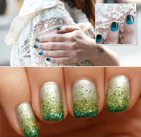 teal gradient nails glitter ombre manicure