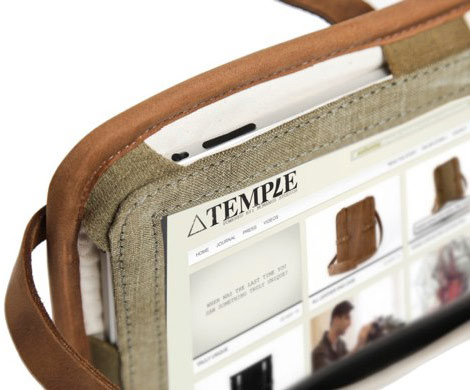 Temple leather iPad case detail
