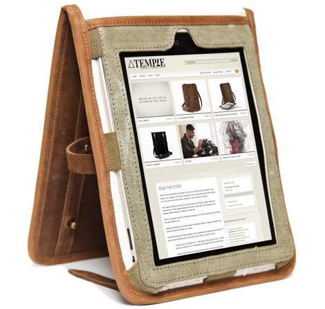 Temple leather iPad case with iPad