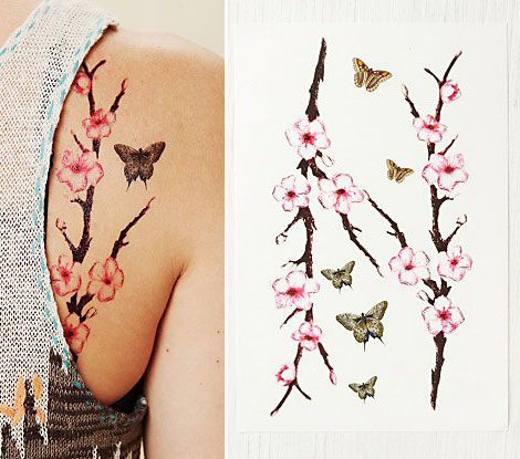 Temporary body tattoos flowers