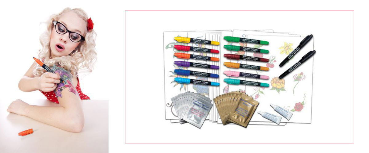 temporary tattoo kit brushes stencils