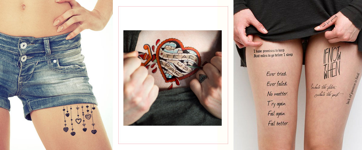 temporary tattoos love letters words hearts