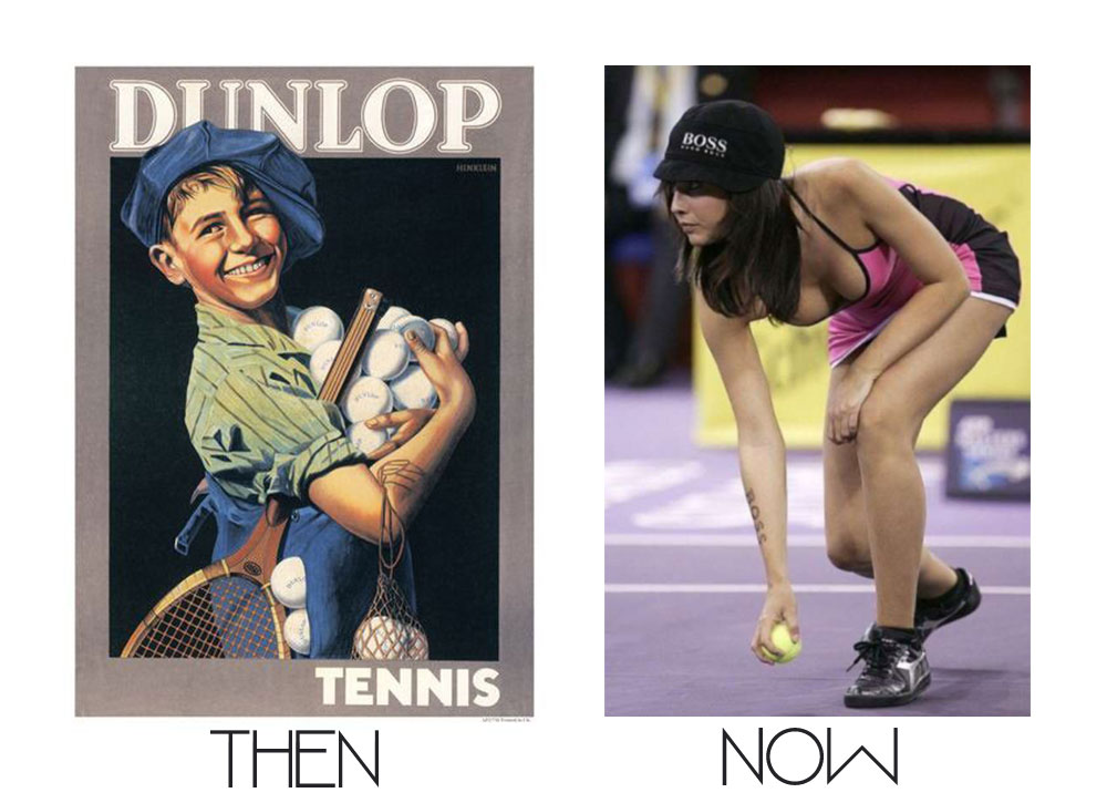 tennis ball girls boys then and now