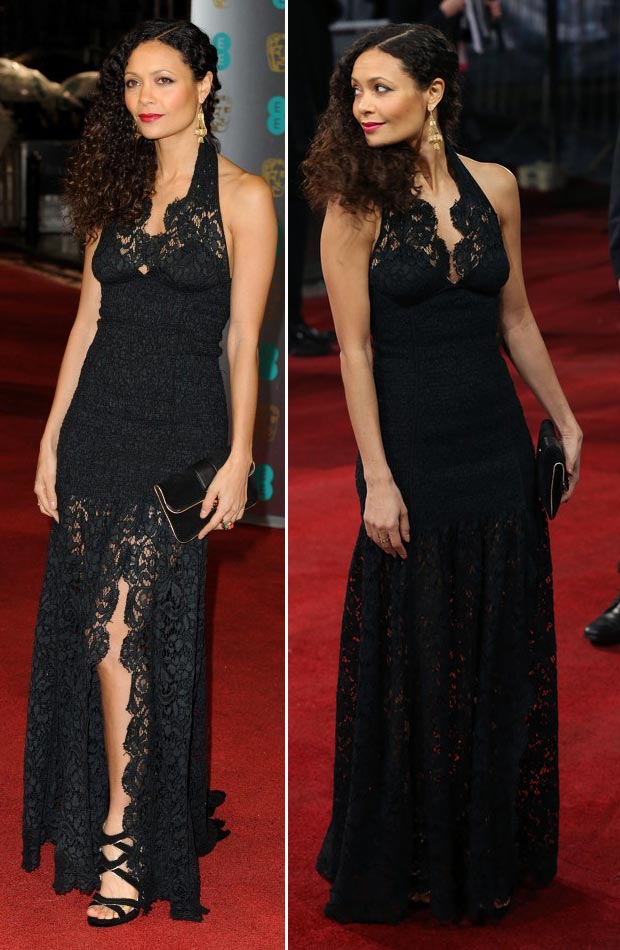 Thandie Newton black lace dress 2013 BAFTA
