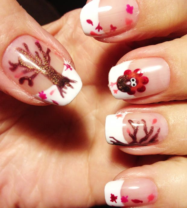 Thanksgiving French nails Turkey fall trees