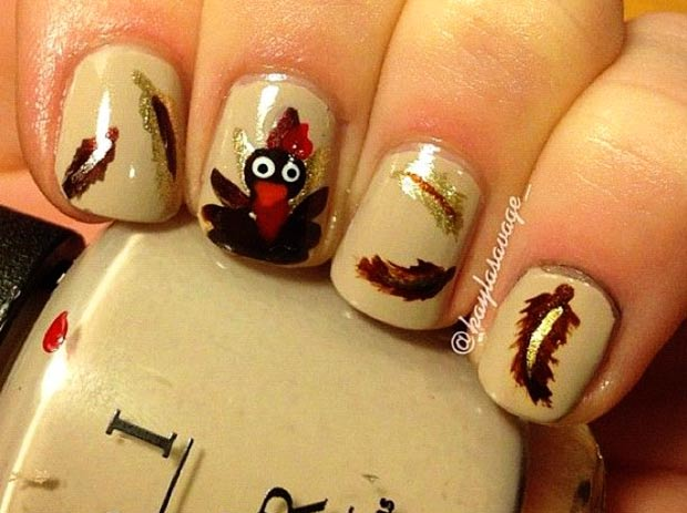 Thanksgiving nails Turkey feathers freehand