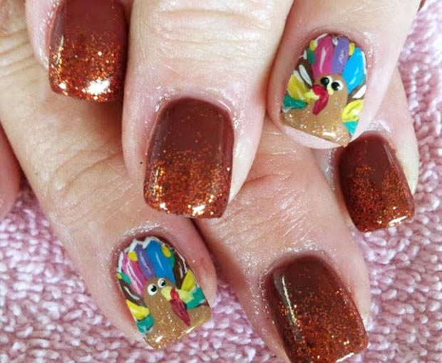 Thanksgiving nails colorful turkey accents