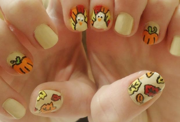 Thanksgiving nails cute turkey fall leaves