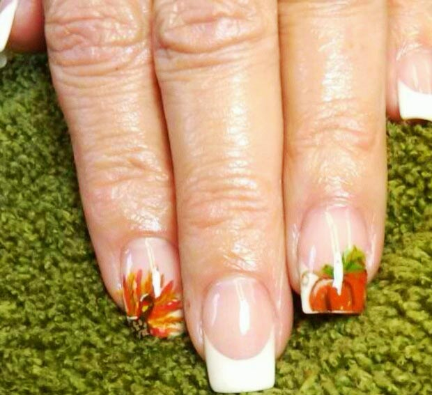 Thanksgiving nails French pumpkin turkey accents
