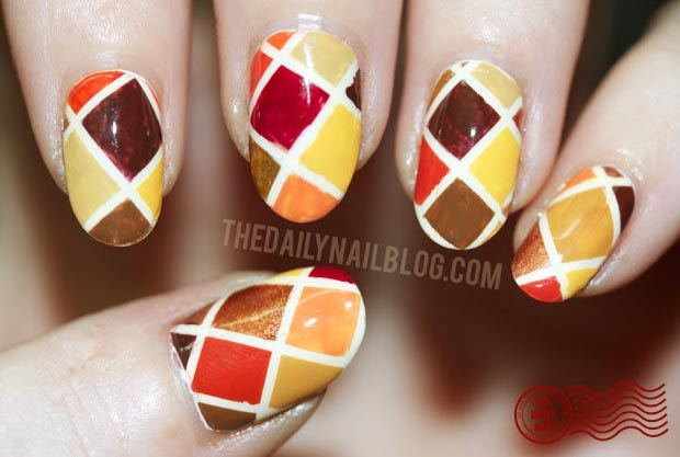 Thanksgiving nails Harlequin fall colors