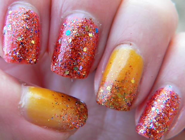 Thanksgiving nails orange yellow glitter