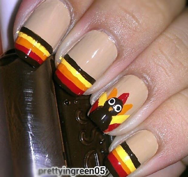 Thanksgiving nails striped french turkey accent