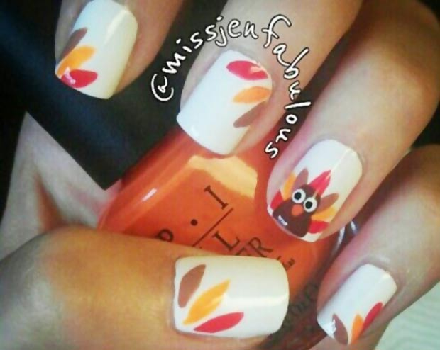 Thanksgiving nails Turkey colorful feathers