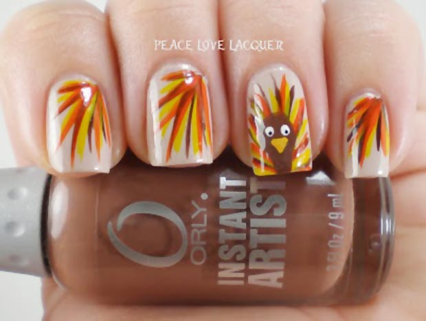 Thanksgiving nails Turkey fall colored feathers
