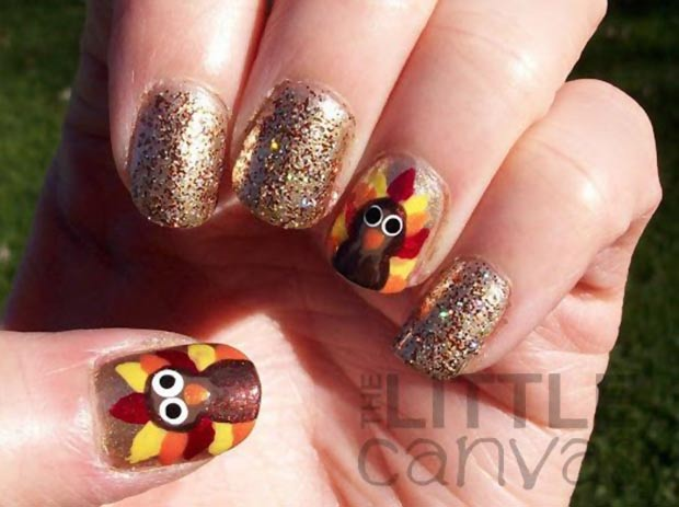 Thanksgiving nails Turkey gold glitter