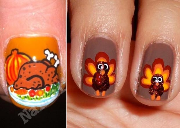 Thanksgivin nails Turkey thumbs