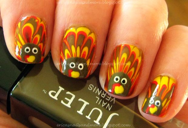 Thanksgiving nails Turkey